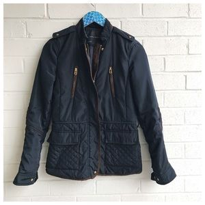 Zara Basic Black Quilted Brown Piped Zip Up Jacket